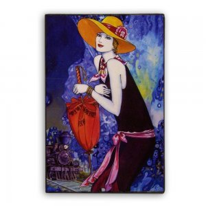 Τσάρλεστον γυναίκα εποχής του 1920 χειροποίητο διακοσμητικό πινακάκι
