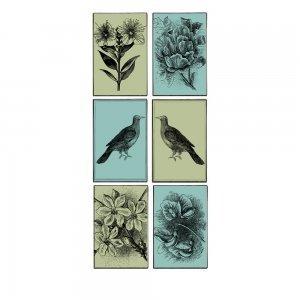 Classic σύνθεση με θέμα τη φύση από χειροποίητους πίνακες σετ των έξι τεμαχίων
