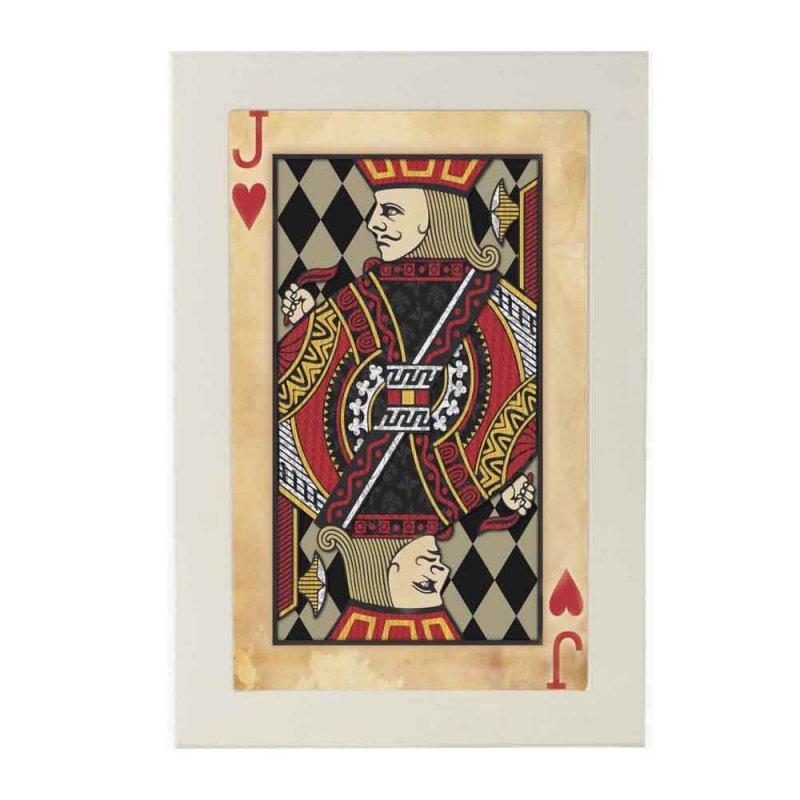 Πίνακας ξύλινος χειροποίητος vintage τραπουλόχαρτο Βαλές Κούπα 20x30 εκ