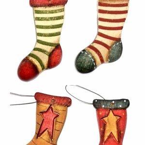 Xριστουγεννιάτικα Στολίδια Κάλτσες σετ των τεσσάρων 10 εκ