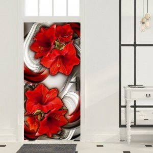 Φωτοταπετσαρία πόρτας - Photo wallpaper - Abstraction and red flowers I 70X210 εκ