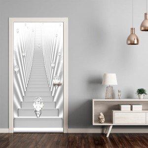 Φωτοταπετσαρία πόρτας - Photo wallpaper - White stairs and jewels I 70X210 εκ