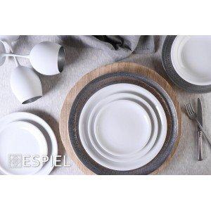Compact πορσελάνινο πιάτο στρογγυλό λευκό κουπ σετ των έξι τεμαχίων 25 εκ