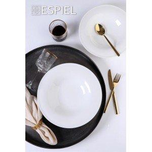 Coup fine dining πορσελάνινο βαθύ πιάτο στρογγυλό λευκό σετ των έξι τεμαχίων 23 εκ