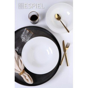 Coup fine dining πορσελάνινο βαθύ πιάτο στρογγυλό λευκό σετ των τεσσάρων τεμαχίων 28 εκ