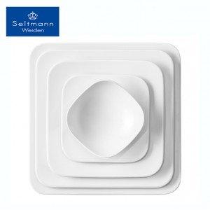 Coup fine dining πορσελάνινο τετράγωνο πιάτο λευκό σετ των τεσσάρων τεμαχίων 29 εκ