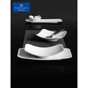 Coup fine dining πορσελάνινη πιατέλα ορθογώνια λευκή σετ των δύο τεμαχίων 35x20εκ