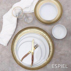 Good mood πορσελάνινο πιάτο ρηχό step λευκό στρογγυλό σετ των έξι τεμαχίων 26 εκ