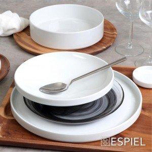 Good mood πορσελάνινο πιάτο ρηχό step λευκό στρογγυλό σετ των δύο τεμαχίων 30 εκ