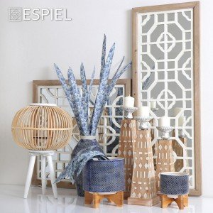 Boho καθρέπτης τετράγωνος με ξύλο σε λευκό και φυσικό χρώμα 64 εκ