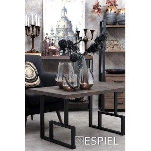 Industrial τραπέζι σαλονιού από ξύλο και μέταλλο 100x58x52 εκ