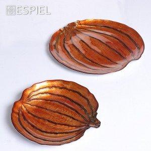 Πιατέλα πορτοκαλί και ασημί σε σχήμα κολοκύθας 23 εκ