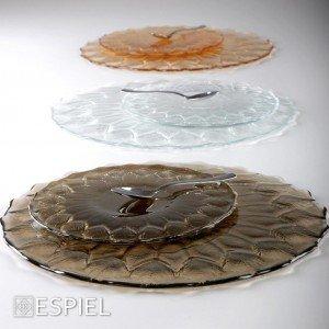 Cecile πιατάκια γλυκού στρογγυλά διάφανα σετ των 7 τεμαχίων σε δύο μεγέθη 33 και 21 εκ