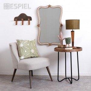 Vintage καθρέπτης παραλληλόγραμμος ξύλινος με σχοινί και χρυσές λεπτομέρειες 81 εκ