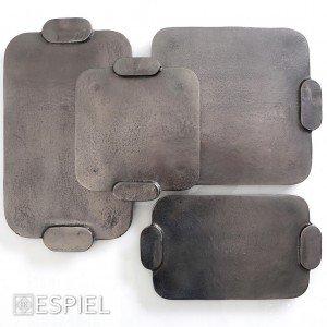 Minimal πιατέλα αλουμινίου τετράγωνη μαύρη 27 εκ