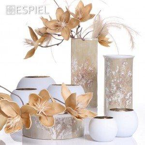 Autumn κεραμικό βάζο στρογγυλό σε μπεζ αποχρώσεις σε σετ των δύο τεμαχίων 12x20 εκ