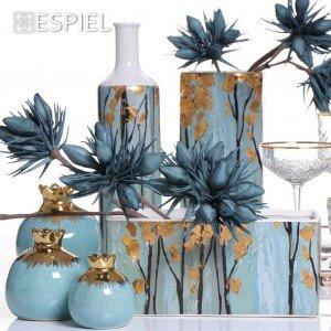 Golden breeze κεραμικό στρογγυλό βάζο σε γαλάζια απόχρωση 26 εκ