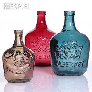 Damajuana δοχείο αποθήκευσης κρασιού Merlot γυάλινο σε κόκκινο χρώμα 56 εκ