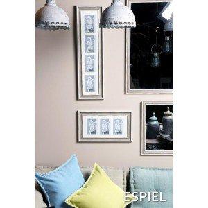 Επιτοίχιος διακοσμητικός καθρέπτης σε λευκή και καφέ απόχρωση 40x50 εκ
