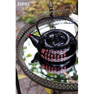 Έθνικ τσαγιέρα με σίτα σε μαύρο και κόκκινο χρώμα 19x14x8 εκ