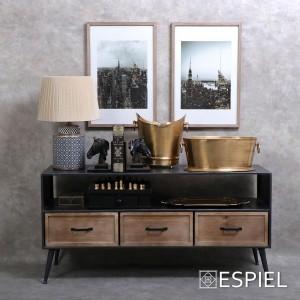 Industrial έπιπλο τηλεόρασης από ξύλο και μέταλλο 120x40x59 εκ
