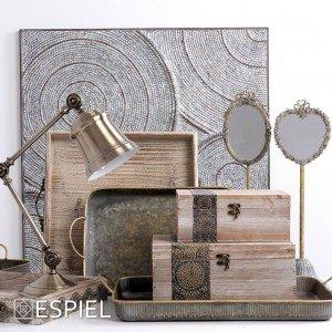 Vintage επιτραπέζιος καθρέπτης σε σχήμα καρδιάς 14x13x47 εκ