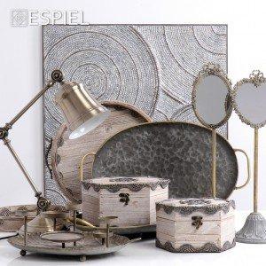 Vintage επιτραπέζιος καθρέπτης οβάλ σε γκρι απόχρωση 13x13x49 εκ