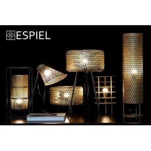 Φωτιστικό δαπέδου από μέταλλο και πλέγμα bamboo 23x50 εκ