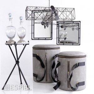 Industrial μεταλλικός καθρέπτης σε μαύρο χρώμα 40x5x40 εκ