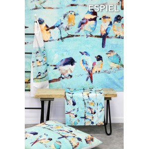 Runner σε γαλάζιο χρώμα με πουλάκια 40x180 εκ