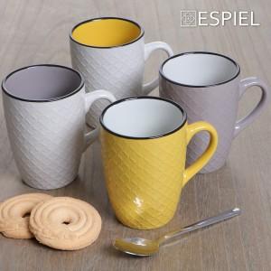 Κούπα Cookie delight σε κίτρινο και κρεμ χρώμα με μαύρο στόμιο σετ των έξι τεμαχίων 10x11 εκ