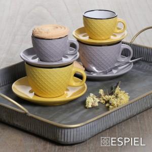 Κίτρινο και κρεμ φλυτζάνι για καπουτσίνο με πιατάκι Cookie delight με μαύρο στόμιο σετ των έξι τεμαχίων 9x7 εκ