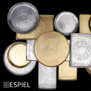 Δίσκος αλουμινίου Pandora σε χρυσή απόχρωση σετ των δύο 36 εκ