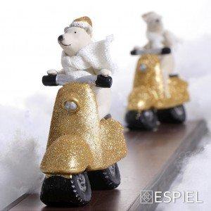 Χριστουγεννιάτικη πολική αρκούδα σε χρυσή βέσπα σετ των δύο τεμαχίων 14x5x14 εκ