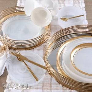 Runner τραπεζιού καρό σε χρυσό και λευκό χρώμα 180x40 εκ