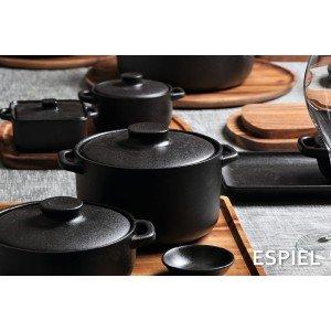 Lava σκεύος για σαγανάκι stoneware στρογγυλό σε μαύρο χρώμα σετ των έξι τεμαχίων 12x3 εκ