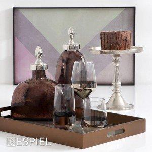 Allegra γυάλινο ποτήρι ουίσκι σε διάφανο με πλατινέ χρώμα σετ των έξι τεμαχίων 7x11 εκ