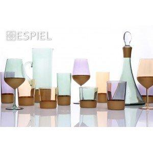 Amelie ποτήρι νερού γυάλινο σε μωβ και χρυσό χρώμα σετ των έξι τεμαχίων 9x12 εκ