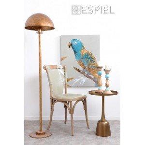 Retro ξύλινη καρέκλα με μπεζ δερματίνη 50x53x89 εκ