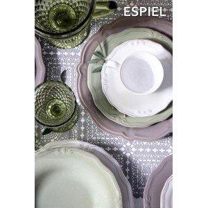 Tiffany κεραμικό φλιτζάνι με πιατάκι σε λευκό χρώμα σετ των έξι τεμαχίων 16 εκ