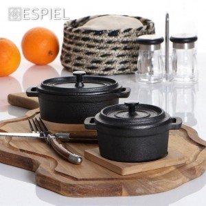 Μαντεμένια κατσαρόλα σε μαύρο χρώμα με βάση από bamboo 12x9x8 εκ