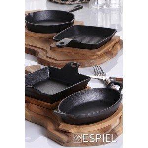 Μαντεμένιο τηγανάκι σε μαύρο χρώμα με βάση από bamboo 24x16x5 εκ
