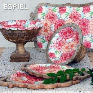 Boho μπωλ με πόδι ξύλινο με ροζ και πορτοκαλί λουλούδια 25x12 εκ