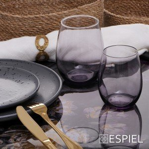 Amber white γυάλινο ποτήρι λευκού κρασιού σε μωβ χρώμα σετ των έξι τεμαχίων 8x10 εκ