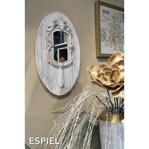 Vintage ξύλινος καθρέπτης σε γκρι χρώμα 32x4x51 εκ