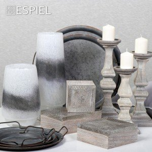 Λαμπατέρ γυάλινο σε λευκό και γκρι χρώμα 15x42 εκ