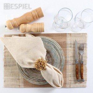 Ethnic δαχτυλίδι πετσέτας διακοσμητικό με χάντρες από ξύλο μάνγκο μπεζ σετ των έξι