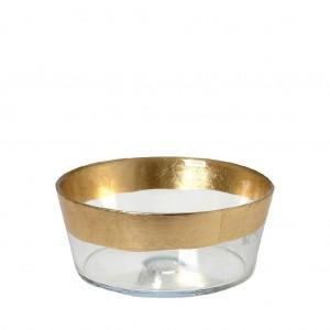 Katsu μπωλ με πόδι στρογγυλό διάφανο με χρυσή ρίγα 15x7 εκ