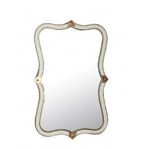 Vintage καθρέπτης παραλληλόγραμμος ξύλινος με σχοινί και χρυσές λεπτομέρειες 61 εκ