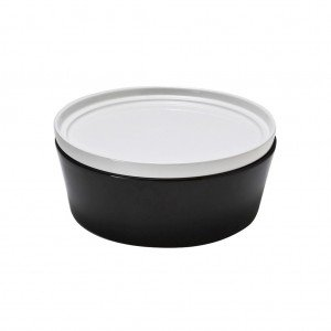 Πυρίμαχο στρογγυλό βαθύ σκεύος σε μαύρο χρώμα με λευκό καπάκι 25 εκ